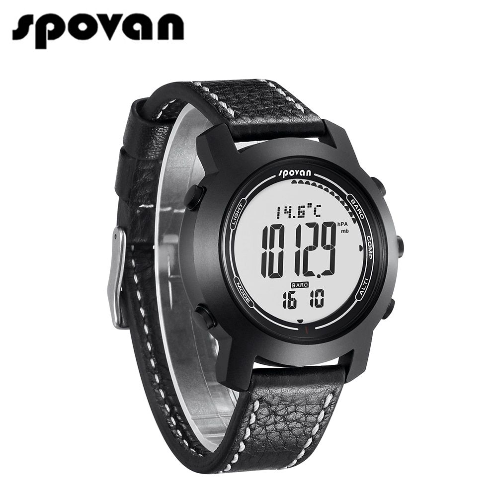 SPOVAN Updated Bravo2S Brand Men's Sports Watches, Genuine Leather Silicone Band, 3D Pedometer