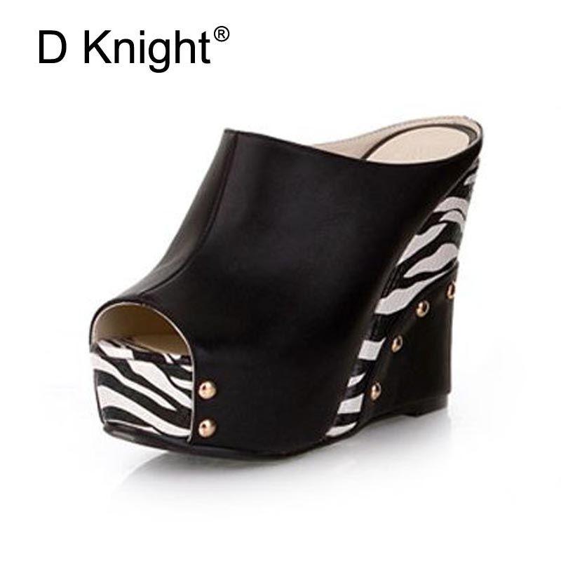 Offre spéciale Femmes Plate-Forme à Bout Ouvert sandales à talons compensés Mode Imprimé Zébré Talons Hauts Femmes Pantoufles Dames décontracté Diapositives Chaussures D'été