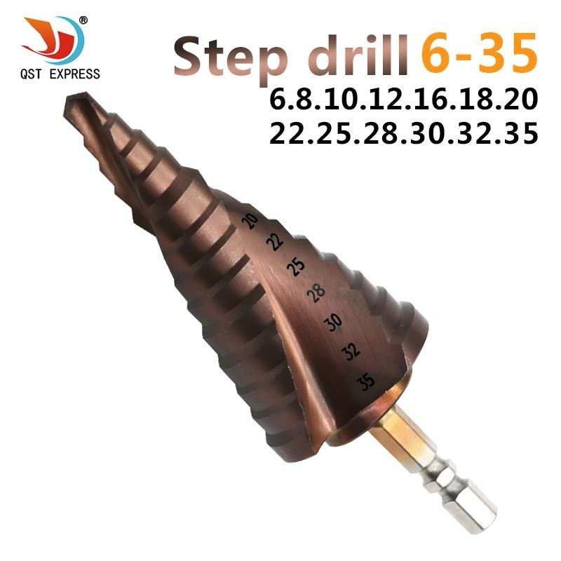 HSS 6-35mm Titanium Coated Spiral Groove co M35 Step Drill Bit With Cobalt 13 Steps 6.35mm Hex Shank Pagoda Drill Bit