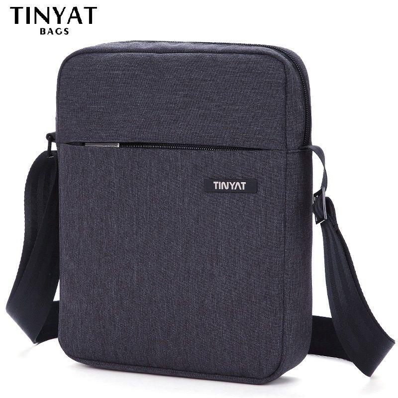 TINYAT Brand Men's Crossbody Bag Pack Multifunctional Men Bag Male Shoulder Messenger Bags Canvas Leather Shoulder Handbag T511