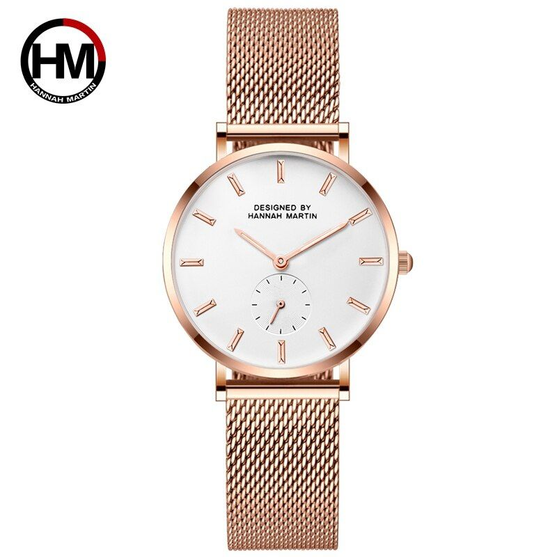Stainless Steel Mesh Band Japan Quartz Movement High Quality Waterproof Women IP Plating Black Ladies Watch 36mm Dropshipping