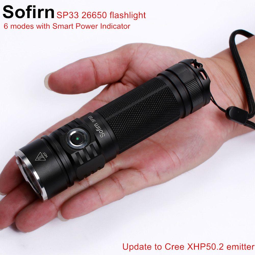 Sofirn SP33 lampe de poche LED 18650 Cree XHP50 haute puissance 2500lm lampe torche lumière puissante lampe de poche 26650 étanche cycle de camp