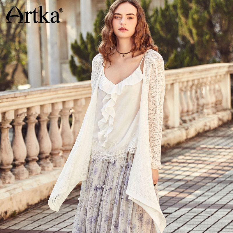 Artka Summer New Women's Kitted Hollow Out White Cotton Sweater Cardigan WB10286C