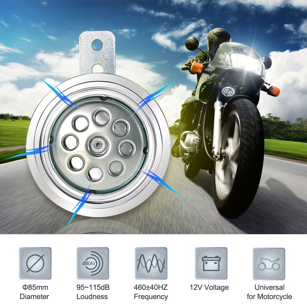 500HZ 115DB 85mm Super Loud Universal Motorcycle Electric Horn Speaker 12V 110db