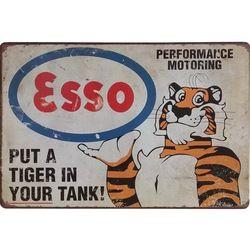 Néon Signe de Métal Rétro Esso Tigre Décor Étain Plaque D'étain À Essence Plaque Américain Style Vintage De Voiture Garage Rectangle Affiche 20x30 cm