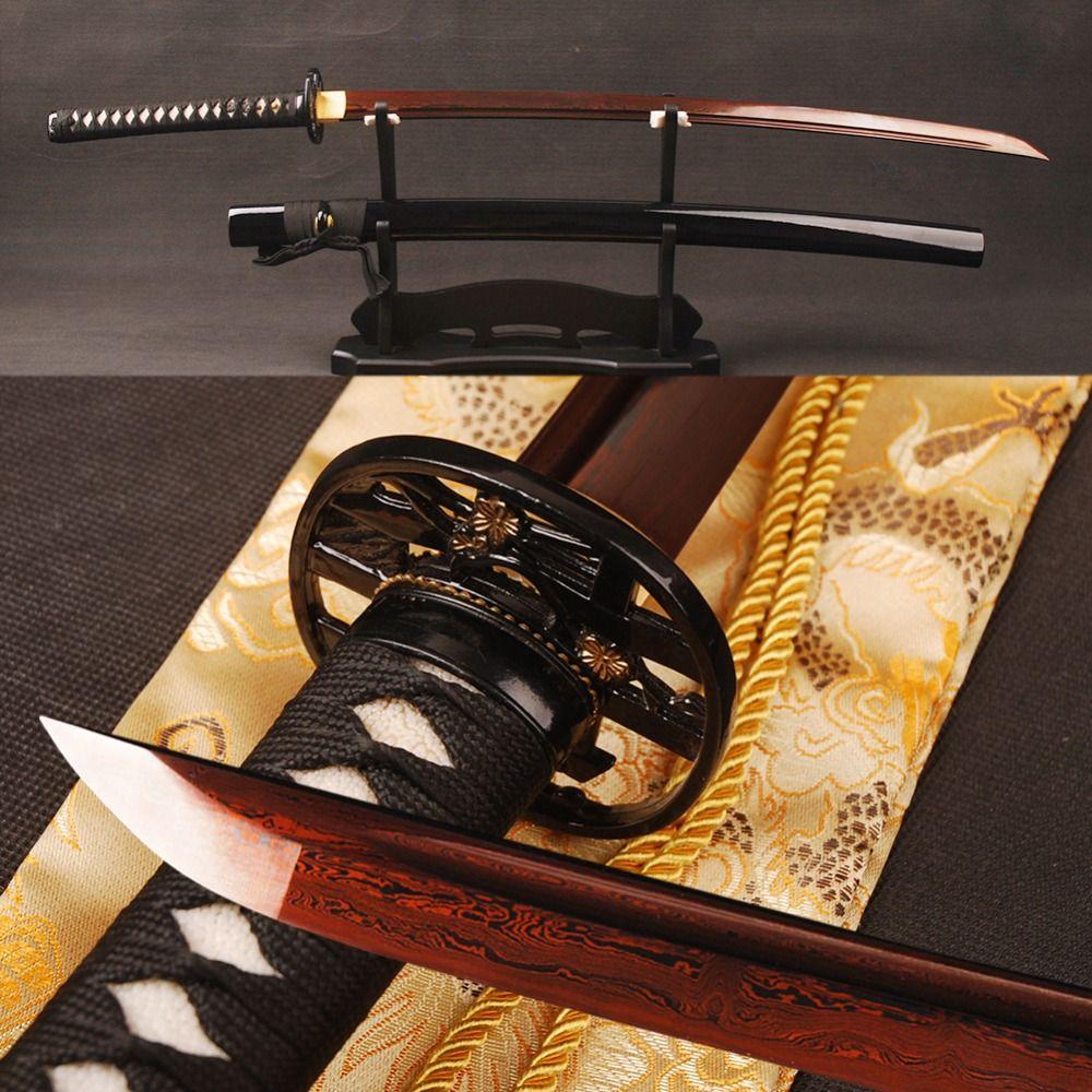 Full Tang Samurai Katana Japanischen Schwert Damaskus Stahl Sharp Red Klinge Ausbildung Schwert Handgefertigten Espada Metall Dekoration