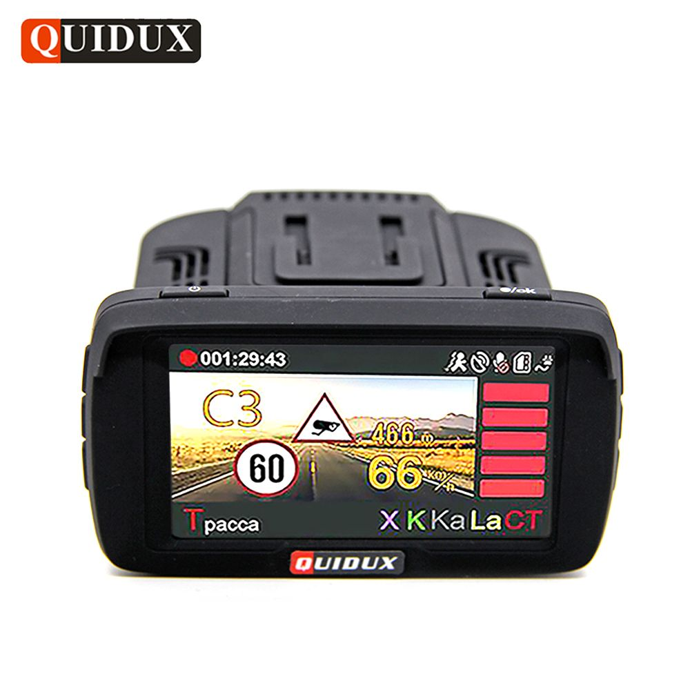 QUIDUX Russia Car DVR Camera GPS Radar Detector 3 in 1 Full HD 1080P Video Recorder LDWS Anti Speedcam Fixed and Flow Velocity