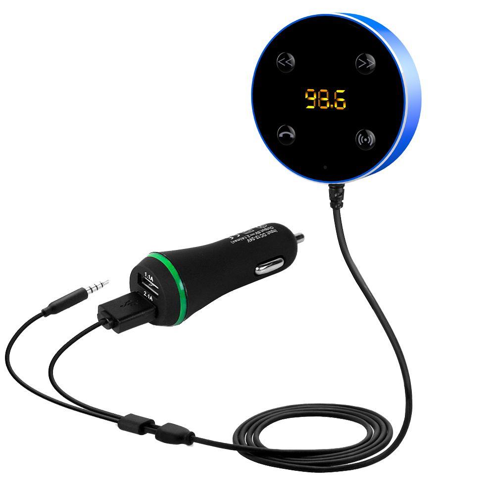 Sans fil Bluetooth voiture Kit AUX musique Audio récepteur adaptateur FM transmetteur mains libres 3.5mm avec double chargeur USB