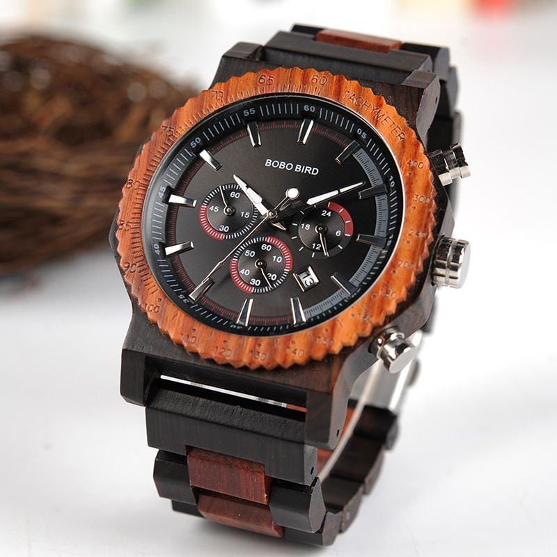 BOBO BIRD 51mm Big Size Men Watch Wood Luxury Chronograph Wristwatch Quality Quartz Movement Calendar Relogio Masculino J-R15