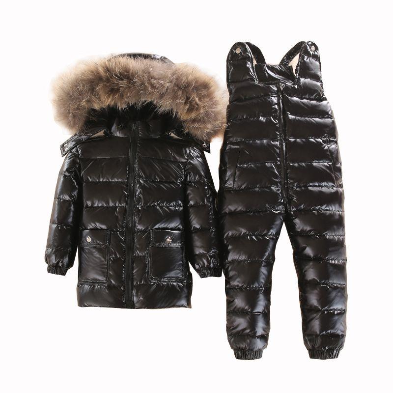 Russian winter Warm Children clothing set white <font><b>down</b></font> boys snowsuit baby outwear waterproof ski suit girls jackets Kids Clothes