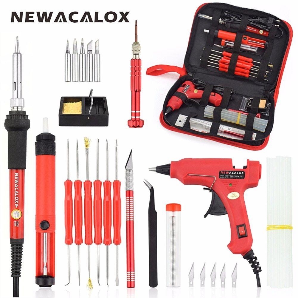 NEWACALOX EU/US 60 w bricolage température réglable électrique fer à souder Kit de soudage tournevis pistolet à colle réparation couteau à découper