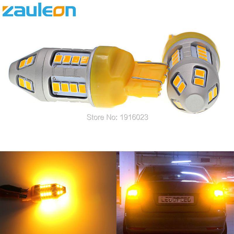 Zauleon 2 шт. Янтарный светодиод указатель поворота T20 7443 580 W21/5 Вт 7440 WY21W 944 люмен желтый светодиод автомобиль света замените лампы