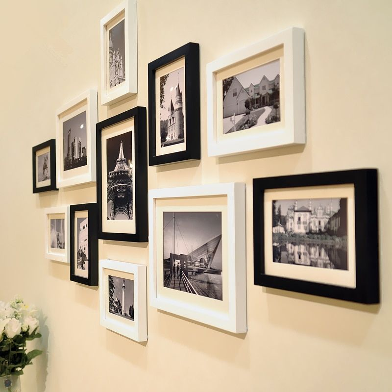 11Pcs Modern Classic White & Black Frames Set for Home Decor Wall Photo Frames Combination Family Picture Frame marcos para foto