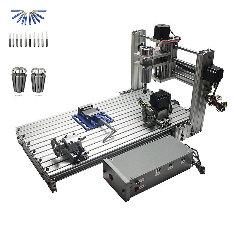CNC milling machine DIY 6030 Mini wood router with working area 29X57X9cm PCB engraving with free cutter er11 collet