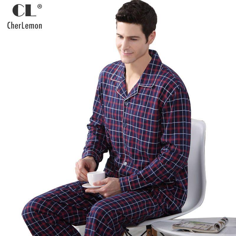 CherLemon Autumn Men Pajama Sets Breathable Cotton Long-Sleeve Male Pyjamas Sleepwear Plus Size M-4XL Pajamas Soft Homewear