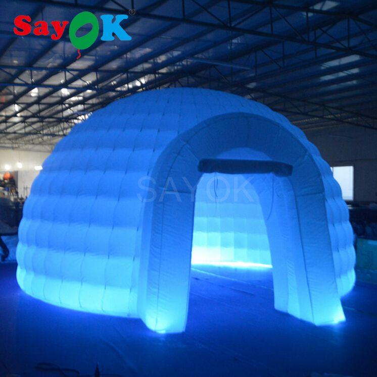 Tragbare Weiß Aufblasbare Kuppel Zelt mit Farbwechsel Led Beleuchtete Aufblasbare Iglu-zelt für Messe, Ausstellung