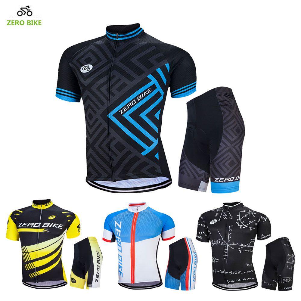 ZEROBIKE 2017 été hommes vêtements de cyclisme en plein air ensemble à manches courtes maillots 4D Gel rembourré vélo serré Shorts Ciclismo M-XXL