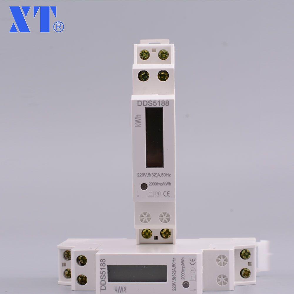 10 pcs DDS5188 5(32) 230V 50HZ Single phase Din rail KWH Watt hour din-rail energy meter tester monitor checker XTM18SA