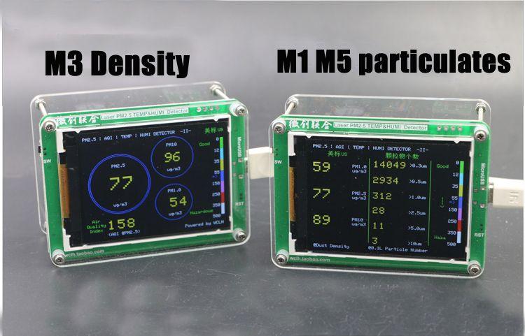 Anglais M5 particules PM2.5 PM1.0 PM10 détecteur d'air surveillance PM2.5 poussière brume capteur Laser avec humidité De La Température D'AFFICHAGE À CRISTAUX LIQUIDES de TFT