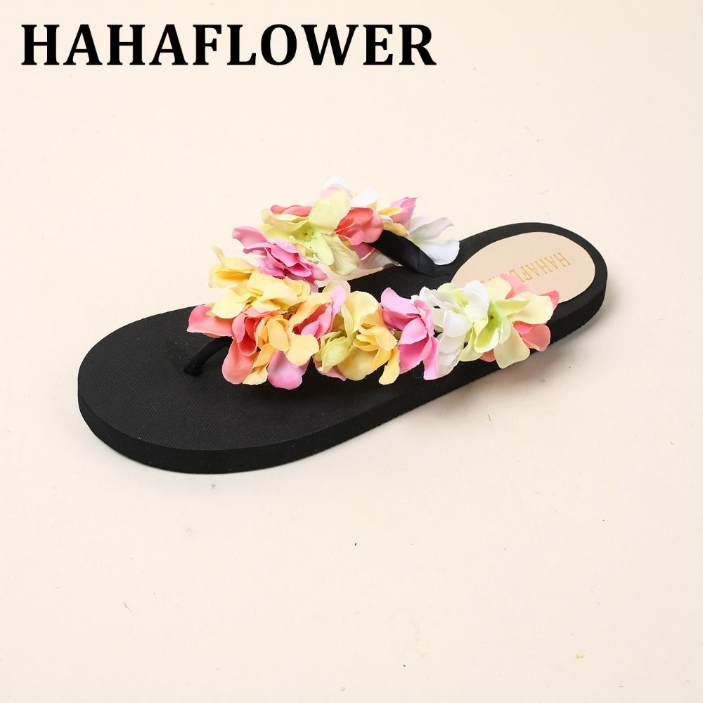 HAHAFLOWER seaside holiday cherry blossoms beach slippers Female flowers in the summer of flat non-slip flip-flops A19