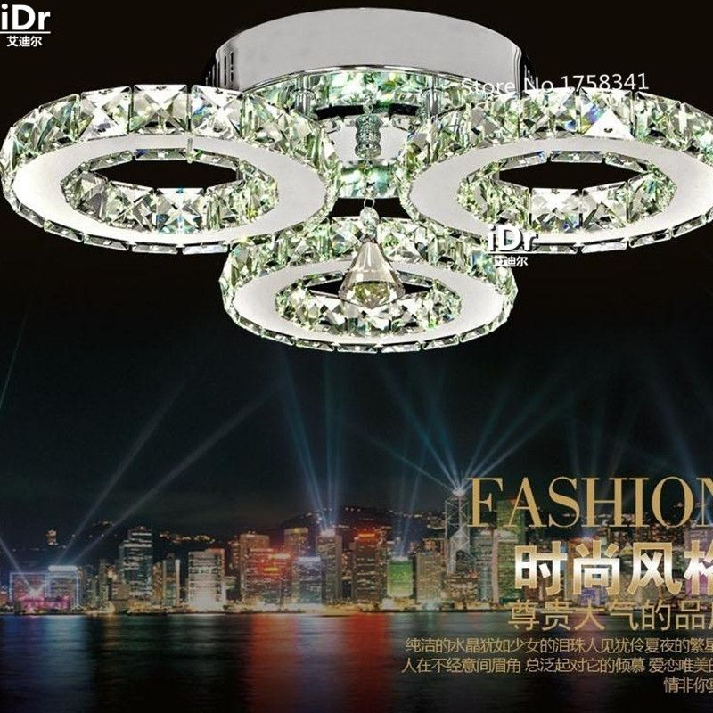 Modern fashion simple stainless steel LED crystal ceiling lights living room bedroom study with balcony aisle crystal lamp