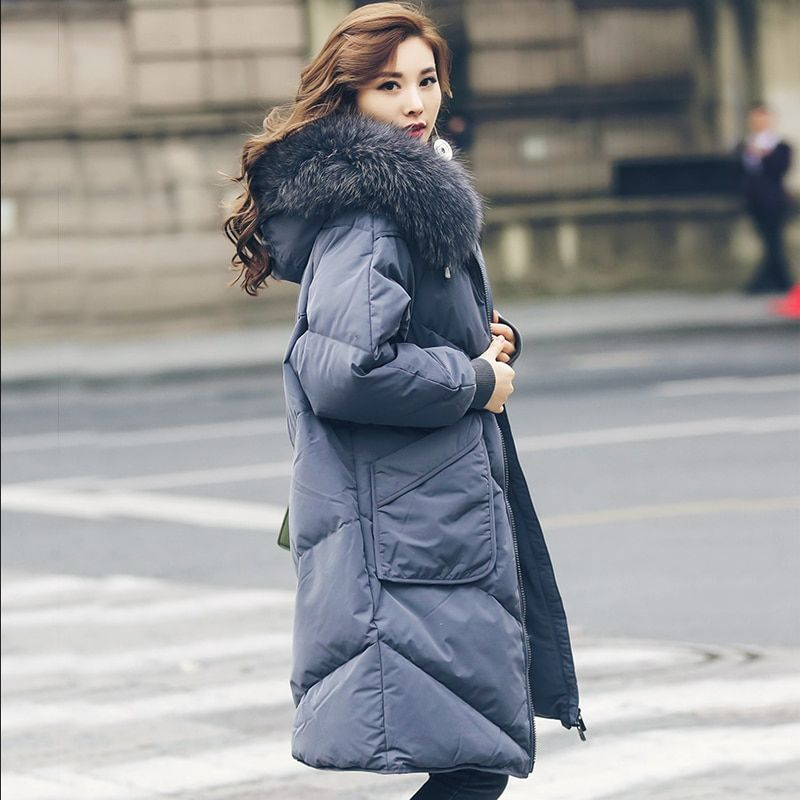 Large Natural Raccoon Fur Collar 2018 Fashion Winter Jacket Womens White Duck Parka Jackets Female Winter Coat Women Down Parka