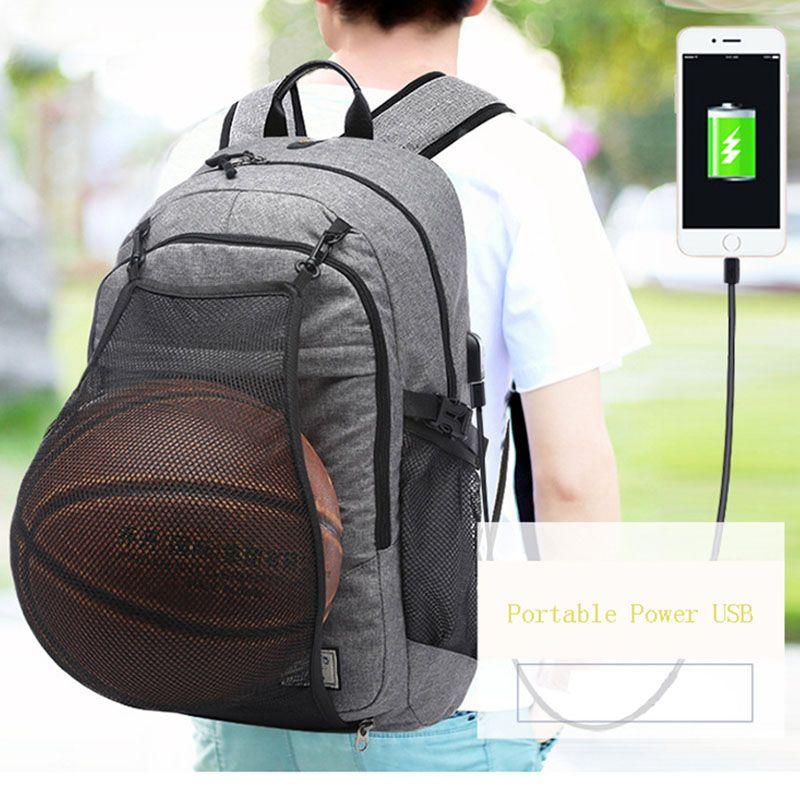 2017 Sport Backpack Men Basketball Backpack School Bag For Teenager Boys Soccer Ball Pack Laptop Bag Football Net Gym Bags Male