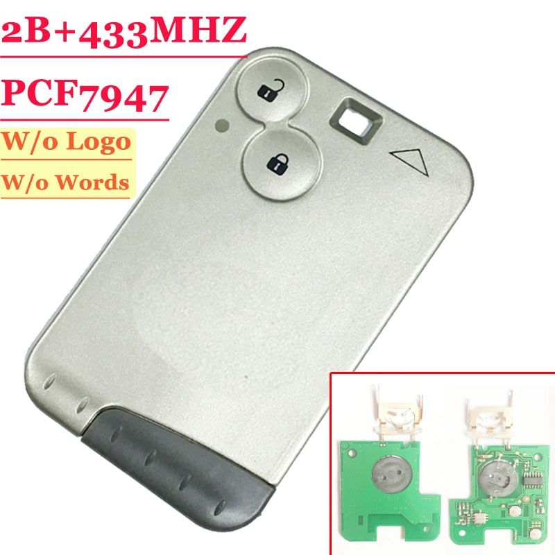 Excellent Quality 2 Button Remote Card With PCF7947 Chip 433MHZ For Renault Laguna Card Grey Blade (1 piece) Free shipping