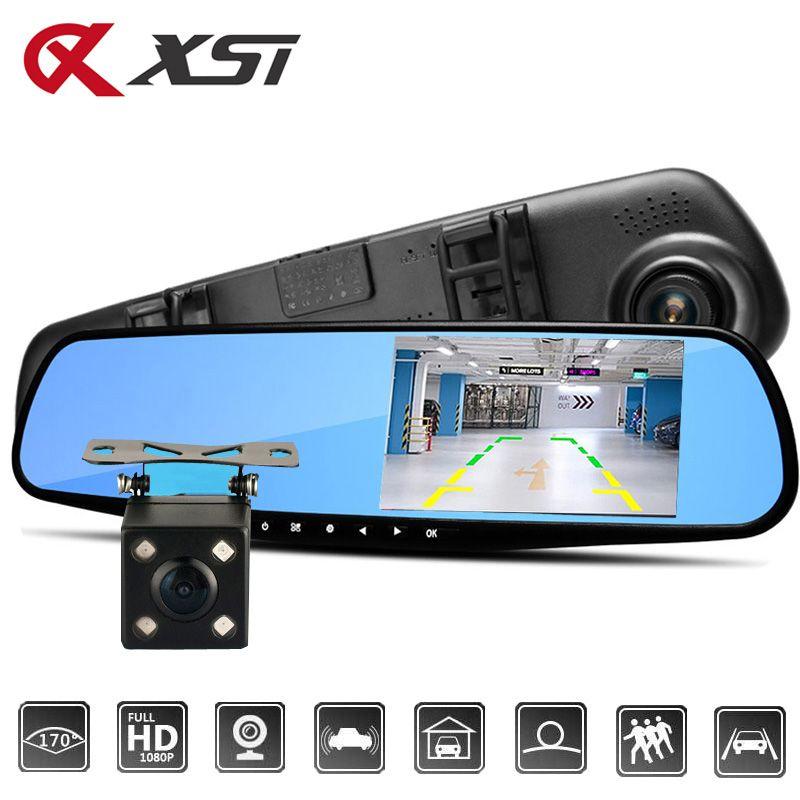 XST 4.3 Inch Full HD 1080P Car Dvr Camera Auto Rearview Car Mirror DVR Digital Video Recorder Dual Lens Registratory Camcorder