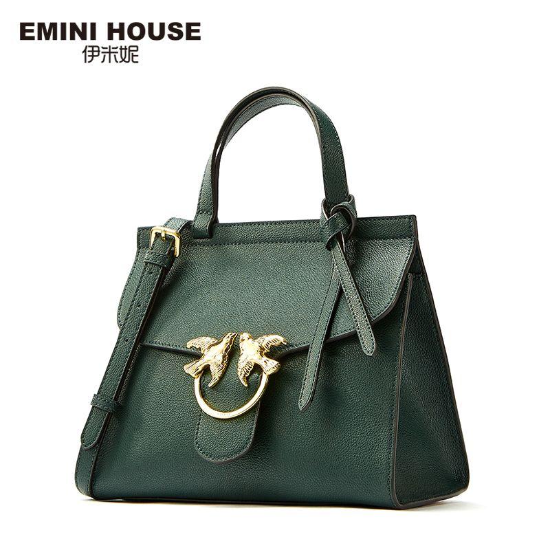EMINI HOUSE Bow Tie Luxury Handbags Women Bags Designer Crossbody Bags For Women Rommy Shoulder Bag Split Leather Women Bags