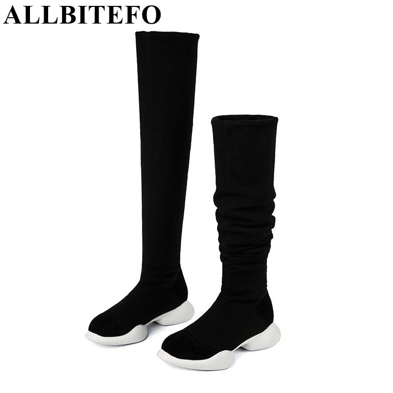 ALLBITEFO genuine leather+Stretch fabrics Elastic boots tube winter snow women boots fashion low-heeled over the knee high boots