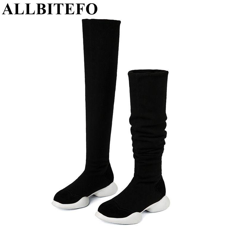 ALLBITEFO véritable en cuir + tissus Extensibles Élastique bottes tube de neige d'hiver femmes bottes de mode à talons bas sur le genou haute bottes