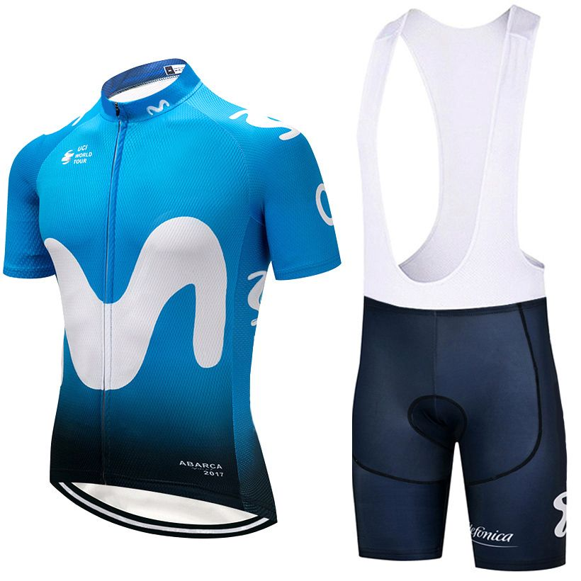 2018 Newest BLUE M Cycling Clothing Bike jersey Quick Dry Mens Bicycle clothes summer team Cycling Jerseys gel bike shorts set
