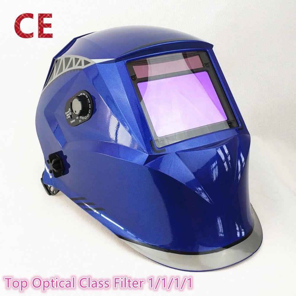 Welding Mask 100*65mm 1111 4 Sensors Grinding DIN 3/4-13 MMA MIG/MAG TIG CE/UL/CSA/AS Cert Solar Auto Darkening Welding Helmet