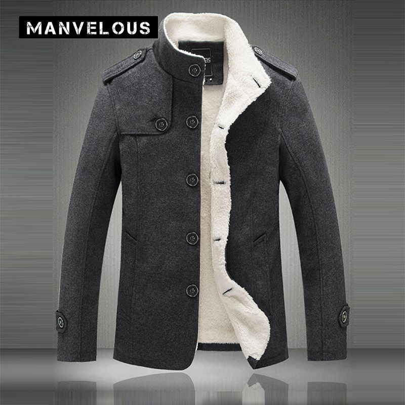 Manvelous вельветовые куртки Для мужчин Повседневное тонкий стенд воротник сплошной Полиэстер Верхняя одежда куртка Толстая темно-серый и хаки...