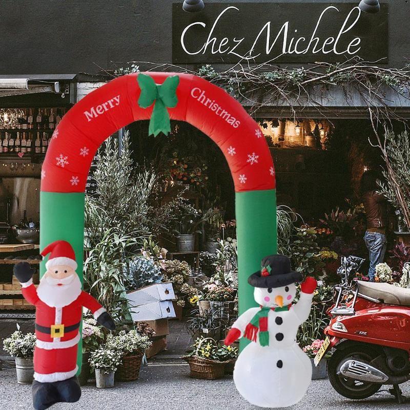 240cm Giant Santa Claus Snowman Inflatable Arch Garden Yard Arcade Christmas Props Party Outdoors Ornaments Shop Decor