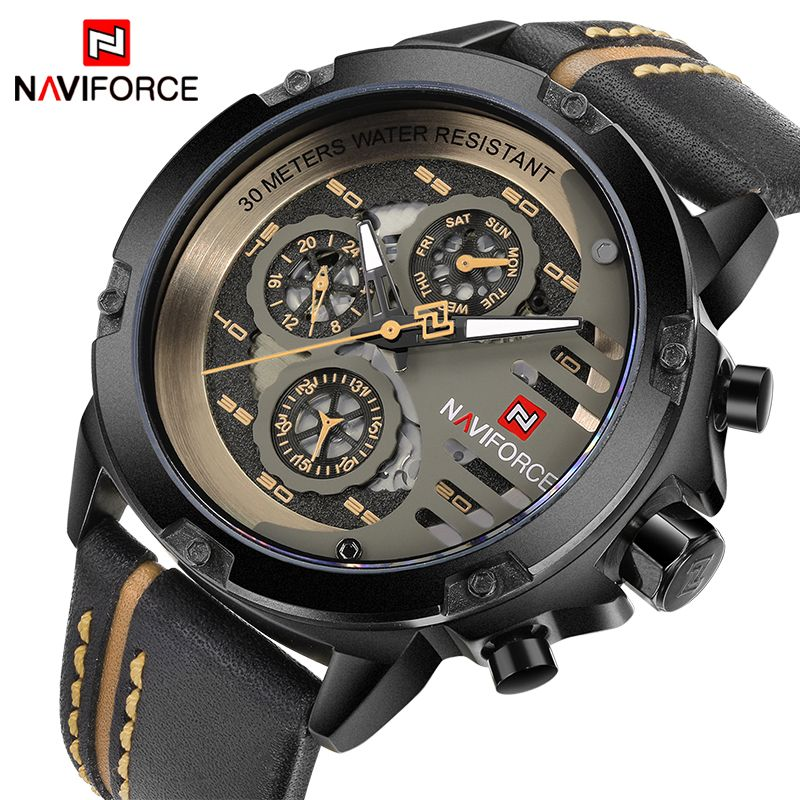 NAVIFORCE Top Brand Luxury Watches Men Waterproof 24 Hours Date Leather Skeleton Quartz Watch Man Sport Wristwatch Male Clock