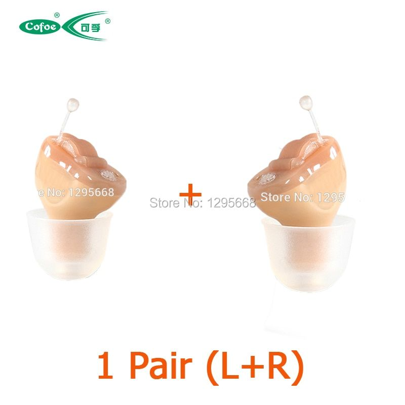 1 Pair 2PCS CE FDA CIC Cofoe Hearing Aid Invisible CIC Mini Device Hearing Aids Headset Inside Ear For Elderly left+right ear