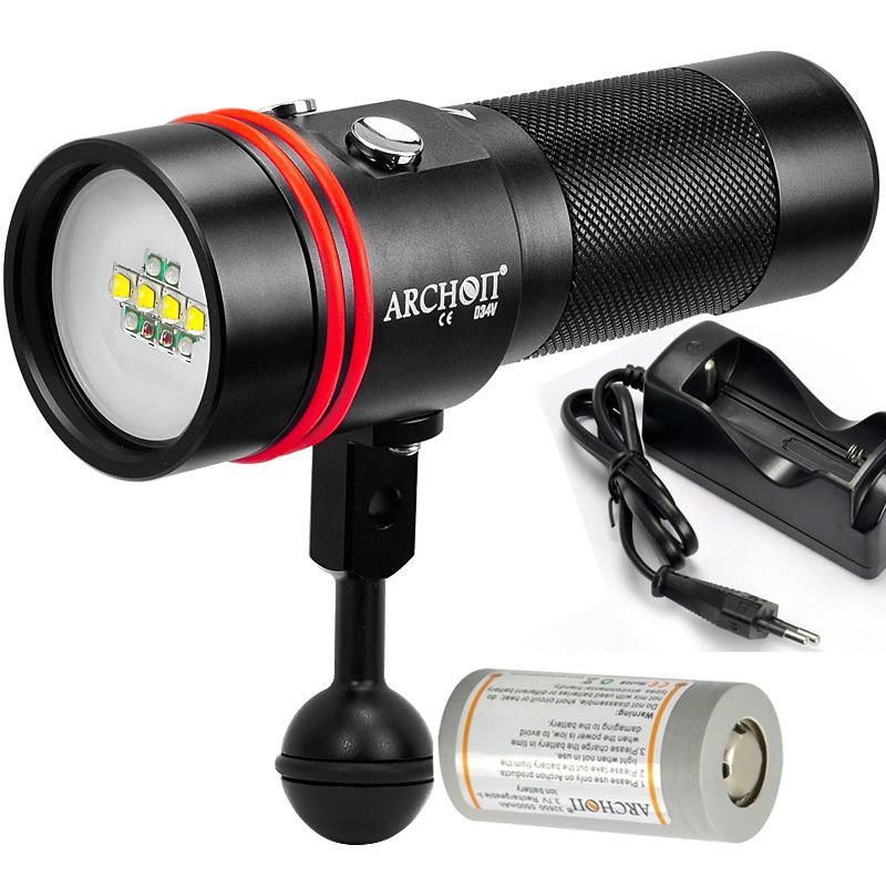 ARCHON W40V D34V video light under photography light UV RED light torch 2600LM 100meter waterproof + 32650 battery +charger