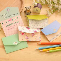 6 pcs/lot floral pliage carte de voeux merci carte d'anniversaire carte de noël enveloppe écriture papier papeterie