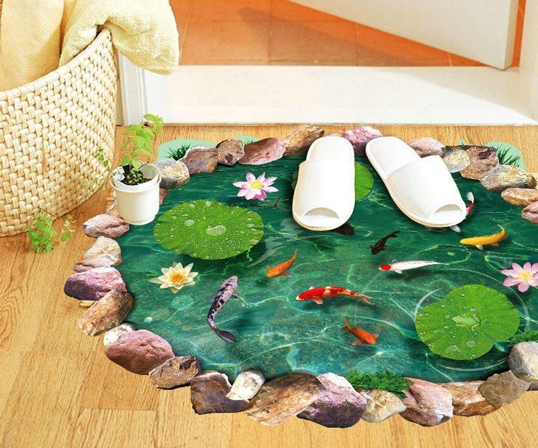 Livraison gratuite nouveau dessin animé poisson rouge lotus chambre salon stickers muraux amovible étanche toilette 3D autocollants décor à la maison
