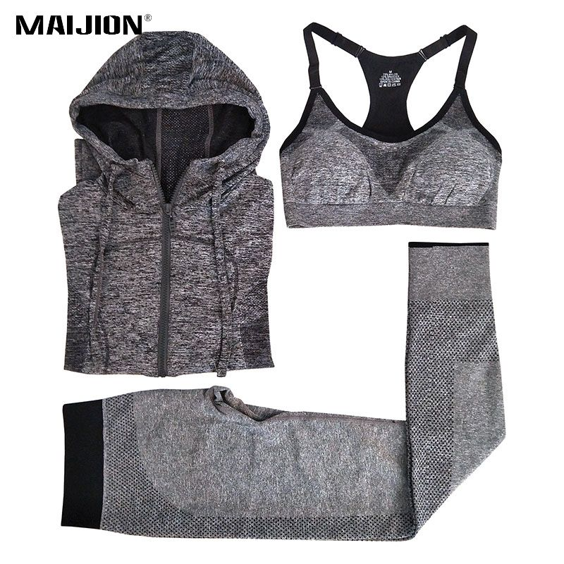 MAIJION Women Quick Dry Running Sets Absorb Sweat Sports Bra & Pants & Jacket Gym Fitness Sport Yoga Set Suit Grey Tracksuit