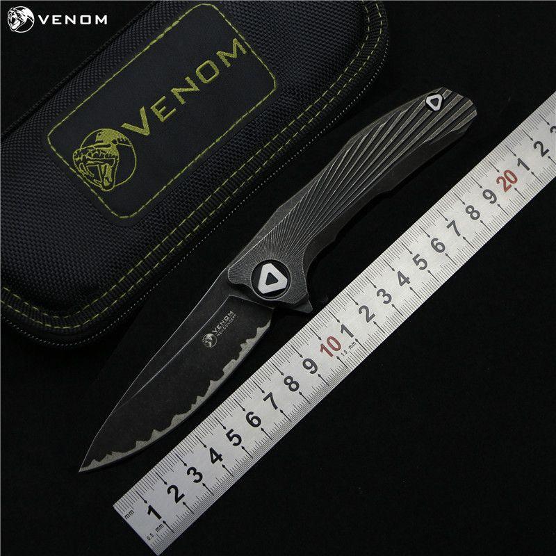 KEVIN JOHN VENOM 3 new concept Flipper folding knife S35vn blade TC4 Titanium outdoor camping survival fruit knife EDC tools