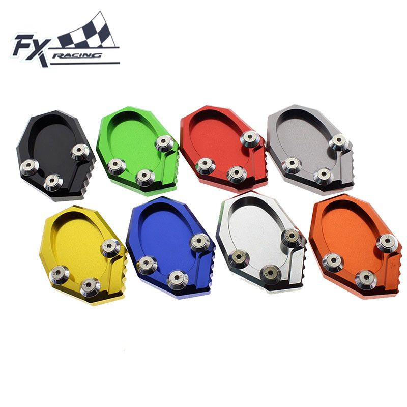 FX CNC Aluminum Motorcycle Kickstand Side Stand Extension Pad Plate Cover For KAWASAKI VERSYS 650 KLX250 KLX 250