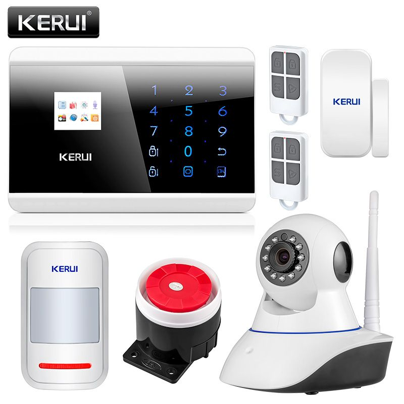 KERUI 8218G APP IOS Android GSM PSTN Dual Wireless Home Alarm Security System English <font><b>Russian</b></font> Spanish French Voice Touch keypad