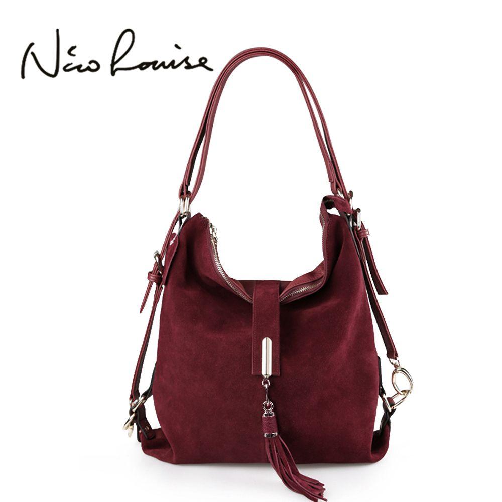Nico Louise Women Real Split Suede Leather Shoulder Bag Female <font><b>Leisure</b></font> Nubuck Casual Handbag Hobo Messenger Top-handle bags