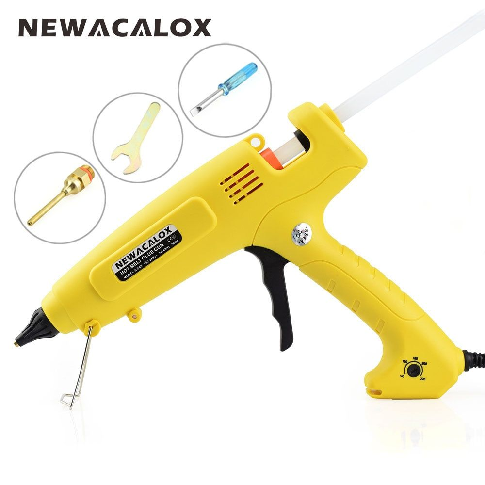 NEWACALOX EU Plug 300W 100-240V pistolet à colle thermofusible 11mm colle bâtons bricolage outils à main Intelligent contrôle de température buse en cuivre