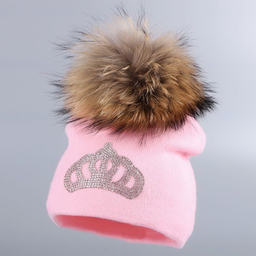 0 a 3 años de edad del bebé hizo punto el sombrero del invierno casquillo de la muchacha muchacho niños de algodón fucsia corona de los niños gorros pompón de piel de visón informal skullies