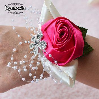 Kyunovia De Mariage De Bal Corsage Mariée Poignet Corsages Fleur Perle Bracelet-Bracelet À La Main Fleur de Demoiselle D'honneur Main Fleurs FE22