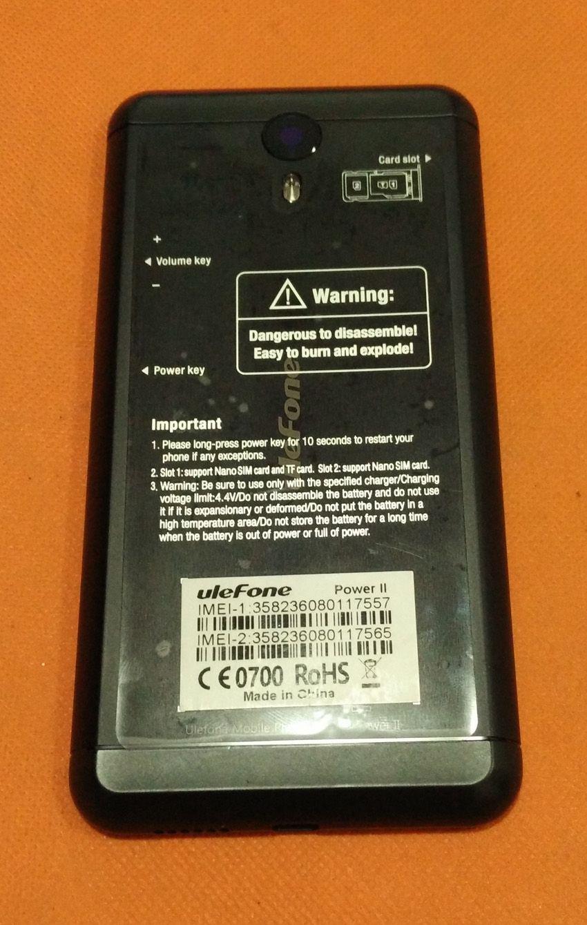 Utilisé D'origine couverture de cas de Batterie + caméra verre pour Ulefone Puissance 2 MTK6750T Octa Core 5.5